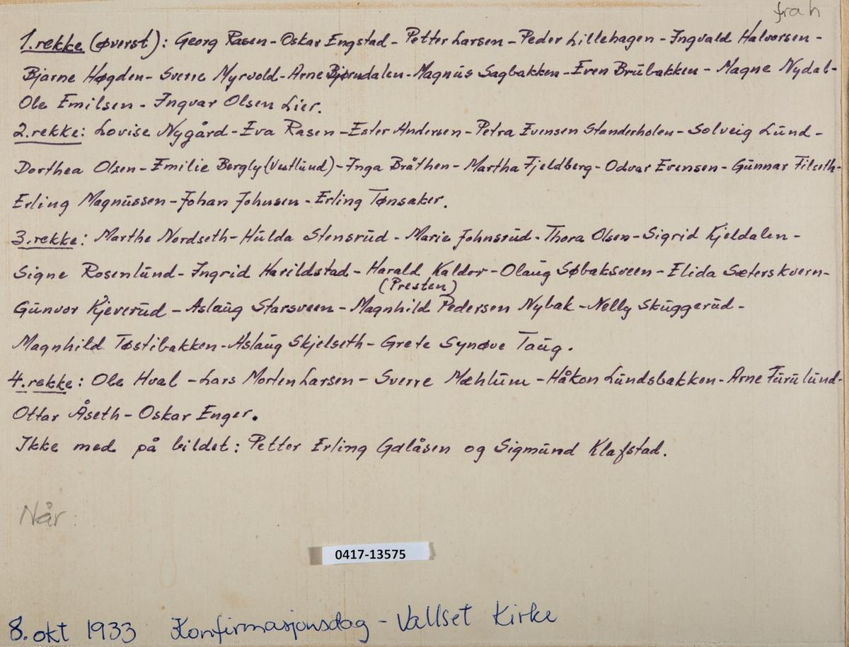 Konfirmanter i Vallset kirke 1933. 1. rekke: Ole Hval, Lars Morten Larsen, Sverre Mæhlum, Håkon Lundsbakken, Arne Furulund, Ottar Åseth, Oskar Enger. 2. rekke: Marthe Nordseth, Hulda Stensrud, Marie Johnsrud, Thora Olsen, Sigrid Kildalen, Signe Rosenlund, Ingrid Harildstad, Harald Olsen Kaldor (Presten), Olaug Søbaksveen, Elida Sæterkvern, Gunvor Kjeverud, Aslaug Starsveen, MagnhildPedersen Nybak, Nelly Skuggerud, Magnhild Tøstibakken, Aslaug Skjelseth, Grete Synøve Taug. 3. rekke: Lovise Nygård, Eva Rasen, Ester Andersen, Petra Evensen Standerholen, Solveig Lund, Dorthea Olsen, Emilie Bergly (Vestlund), Inga Bråthen, Martha Fjeldberg, Odvar Evensen, Gunnar Filseth, Erling Magnusen, Johan Johnsen, Erling Tønsaker. 4. rekke: Georg Rasen, Oskar Engstad, Petter Larsen, Peder Lillehagen, Ingvald Halvorsen, Bjarne Høgden, Sverre Myrvold, Arne Bjørndalen, Magnus Sagbakken, Even Brubakken, Magne Nydal, Ole Emilsen, Ingvar Olsen Lier.  Konfirmanter som ikke er med på bildet: Petter Erling Galåsen og Sigmund Klafstad.