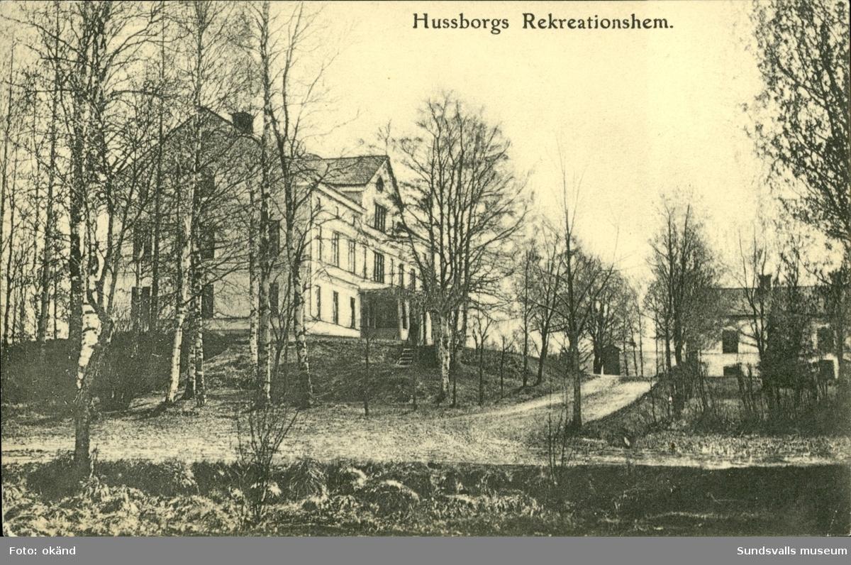 Vykort med motiv över Hussborgs rekreationshem i Ljungaverk. Post- och brevdaterat 1906.