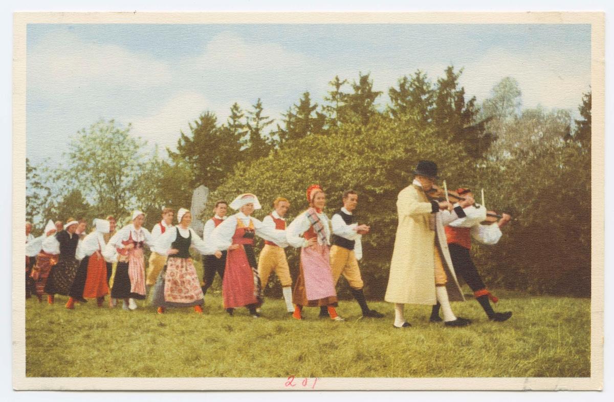 """Vykort med motiv från Skansen. """"Skansens folkdanslag."""""""