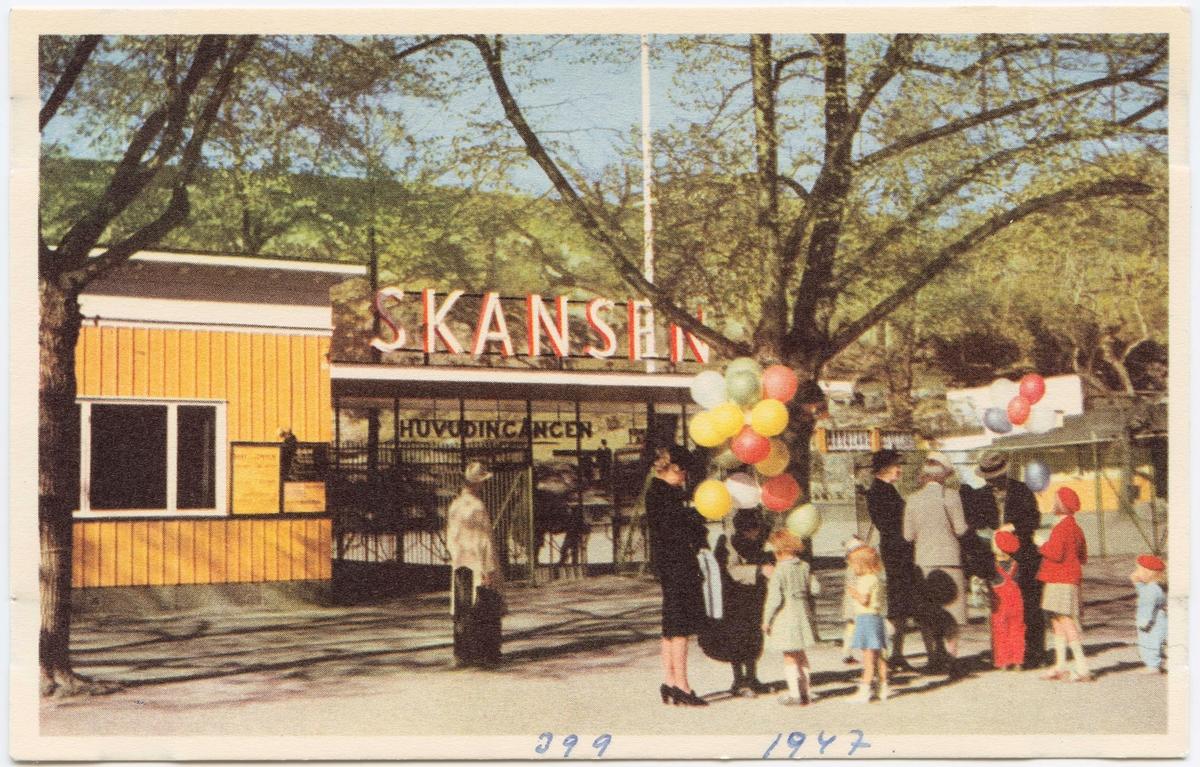 Vykort med motiv från Skansen. Huvudentrén till Skansen.