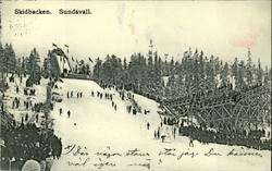 Vykort med motiv över vinteridrottsfesten i Sundsvall. Med t