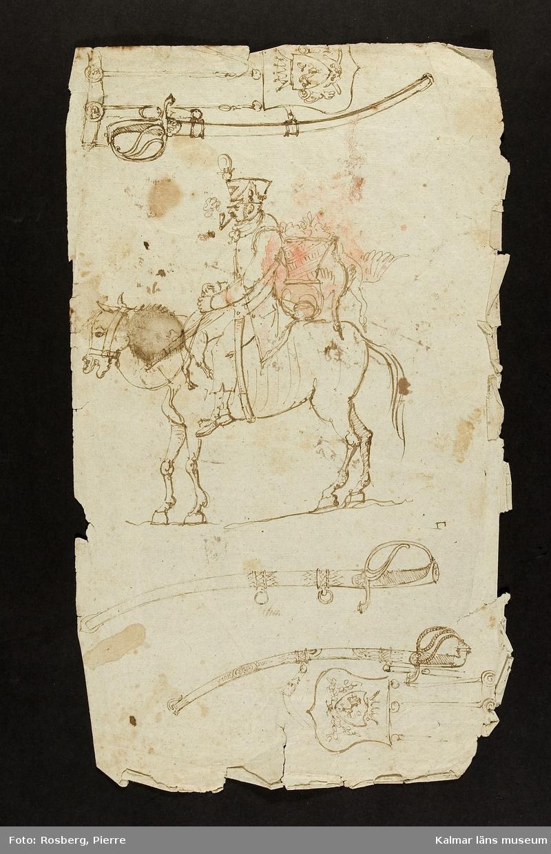 Studie av ryttare till häst samt vapen.