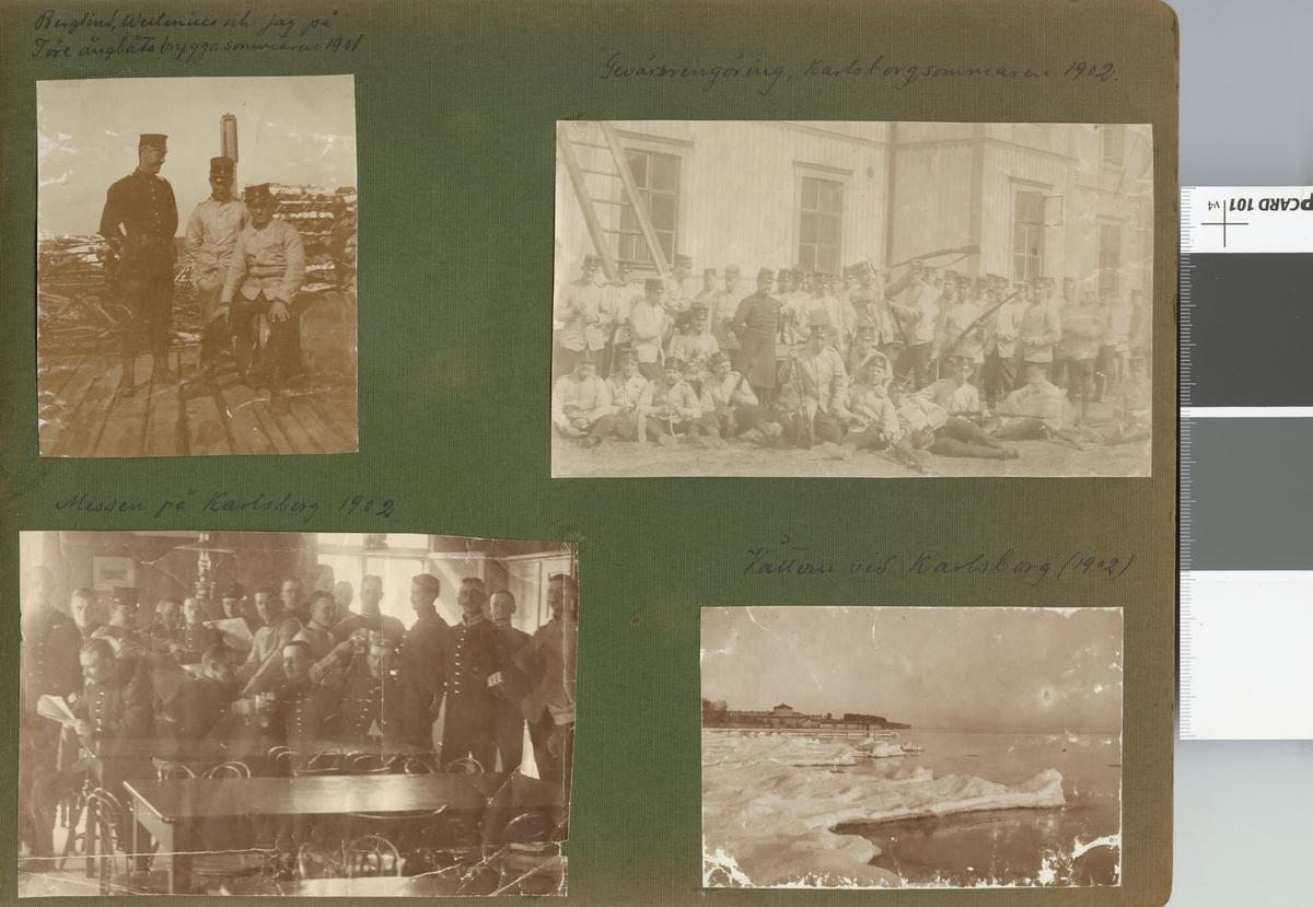 """Text i fotoalbum: """"Berglind, Wellenius och jag på Töre ångbåtsbrygga sommaren 1901""""."""