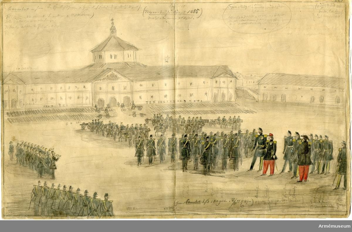 """Grupp M I. Teckning av Christian Staaf föreställande """"Marskalk Canoberts besök den 13 nov. 1855."""