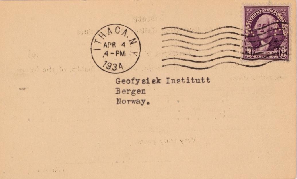 Takkekort-samling vedr. polarskipet MAUD. Takkekort fra New York State College of Agriculture Librarn  (med frimerke) i forbindelse med at de har mottatt publikasjon vedr. MAUD sin polekspedisjon i 1918-1925.