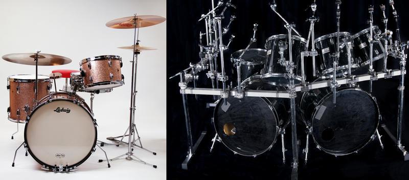 Ludwig til venstre, Pearl Super-Pro til høyre. Foto: Rockheim.