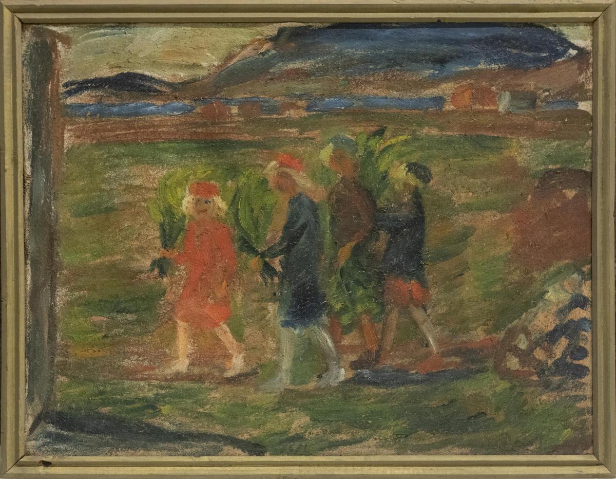 Hans Ryggen, Barn med påskegrønt, udatert.
