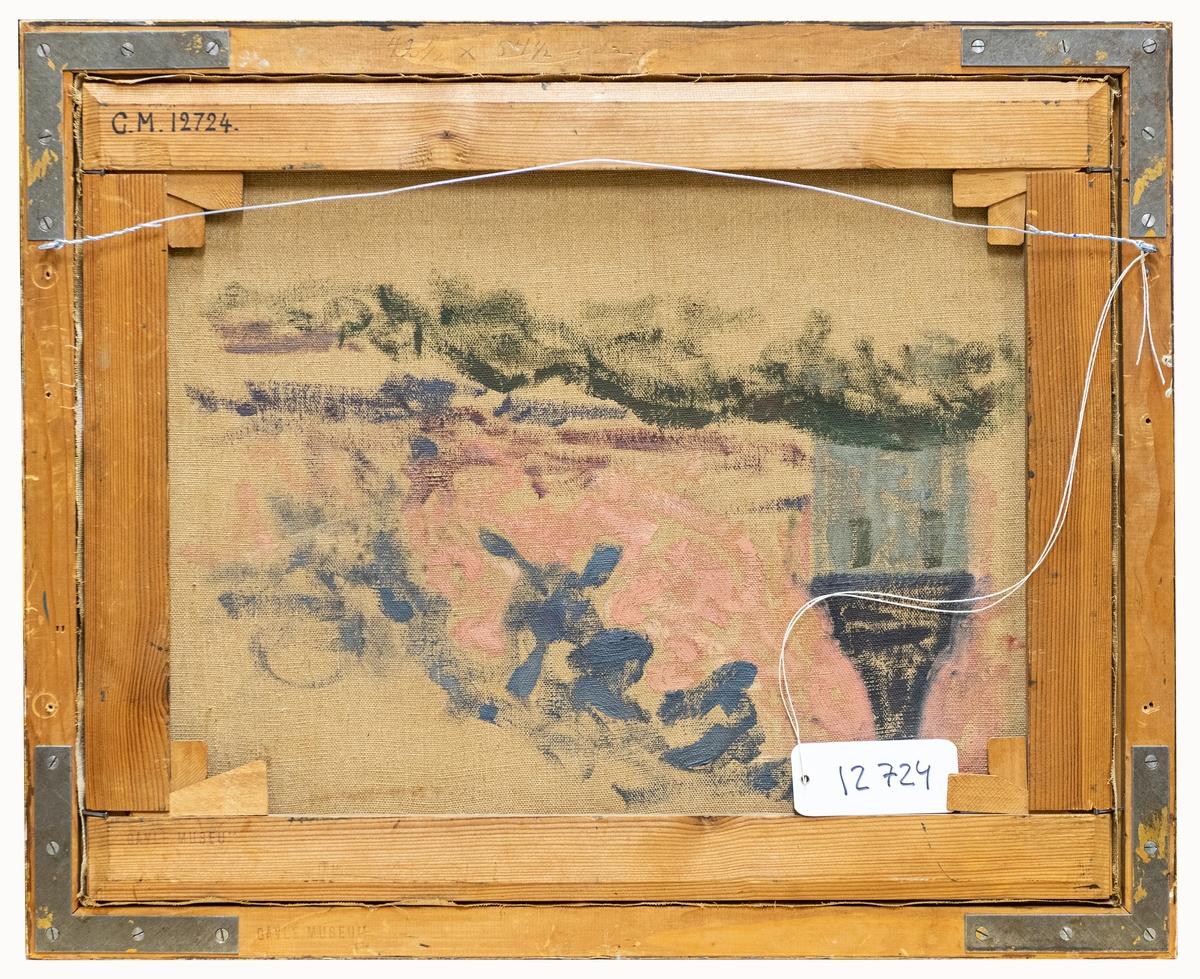 """Oljemålning """"Laduvägg, Engesberg"""" av Pelle Swedlund. I förgrunden konstnärens syster Tekla. Originalram med påmålning av konstnären."""