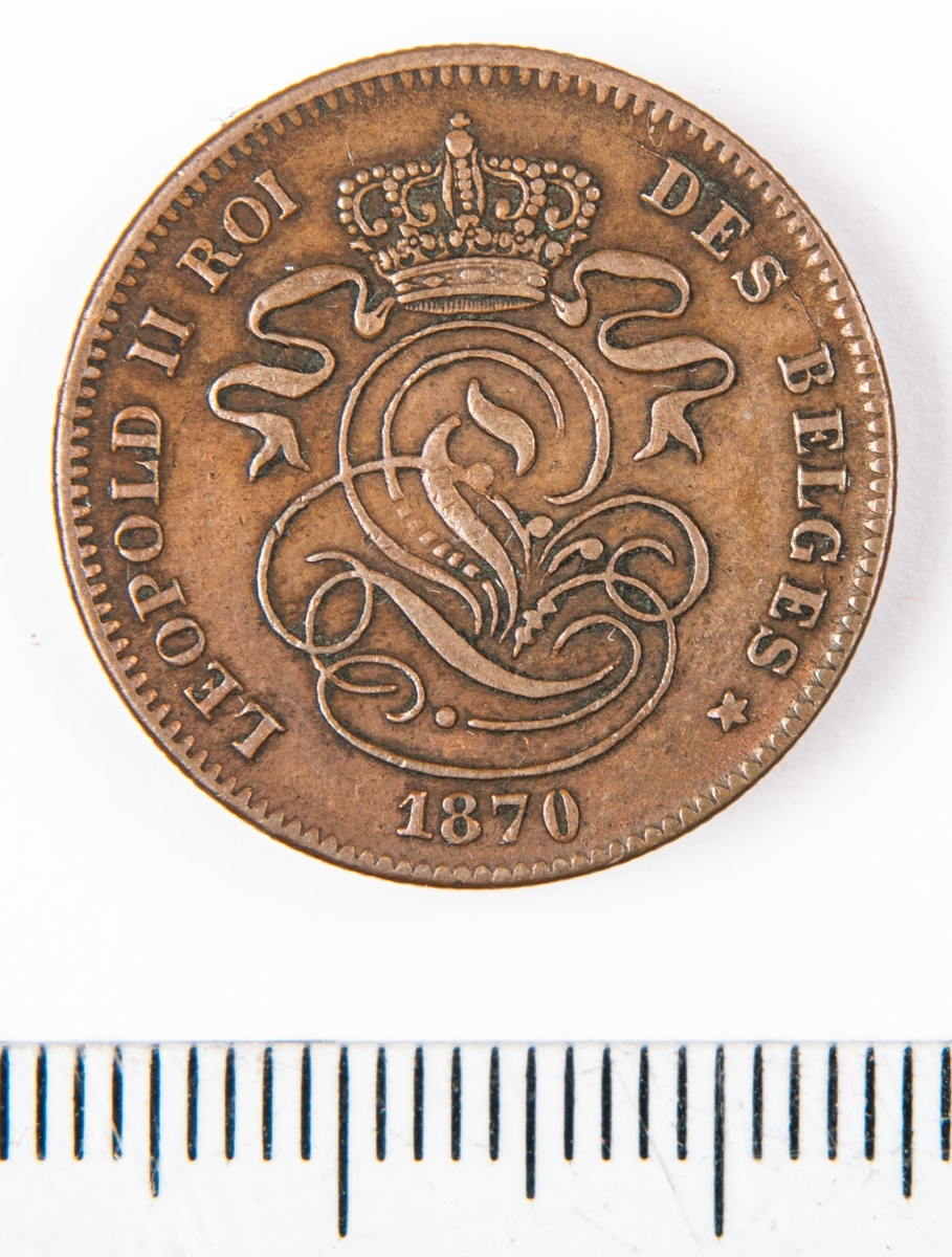 Mynt från Belgien, 1870, 2 Centimes.