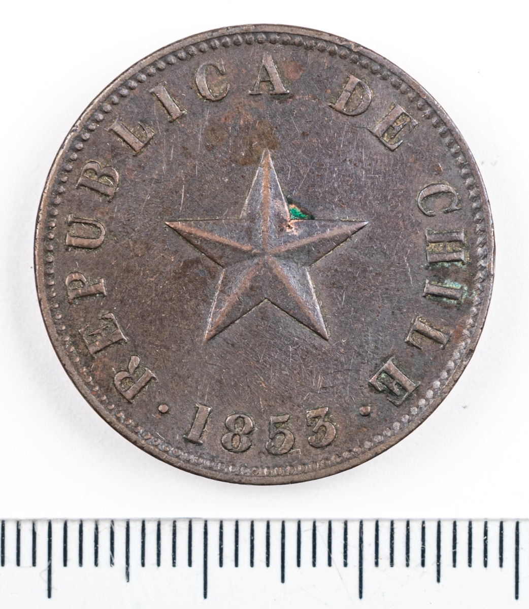 Mynt, Chile, 1853, 1 Centavo.