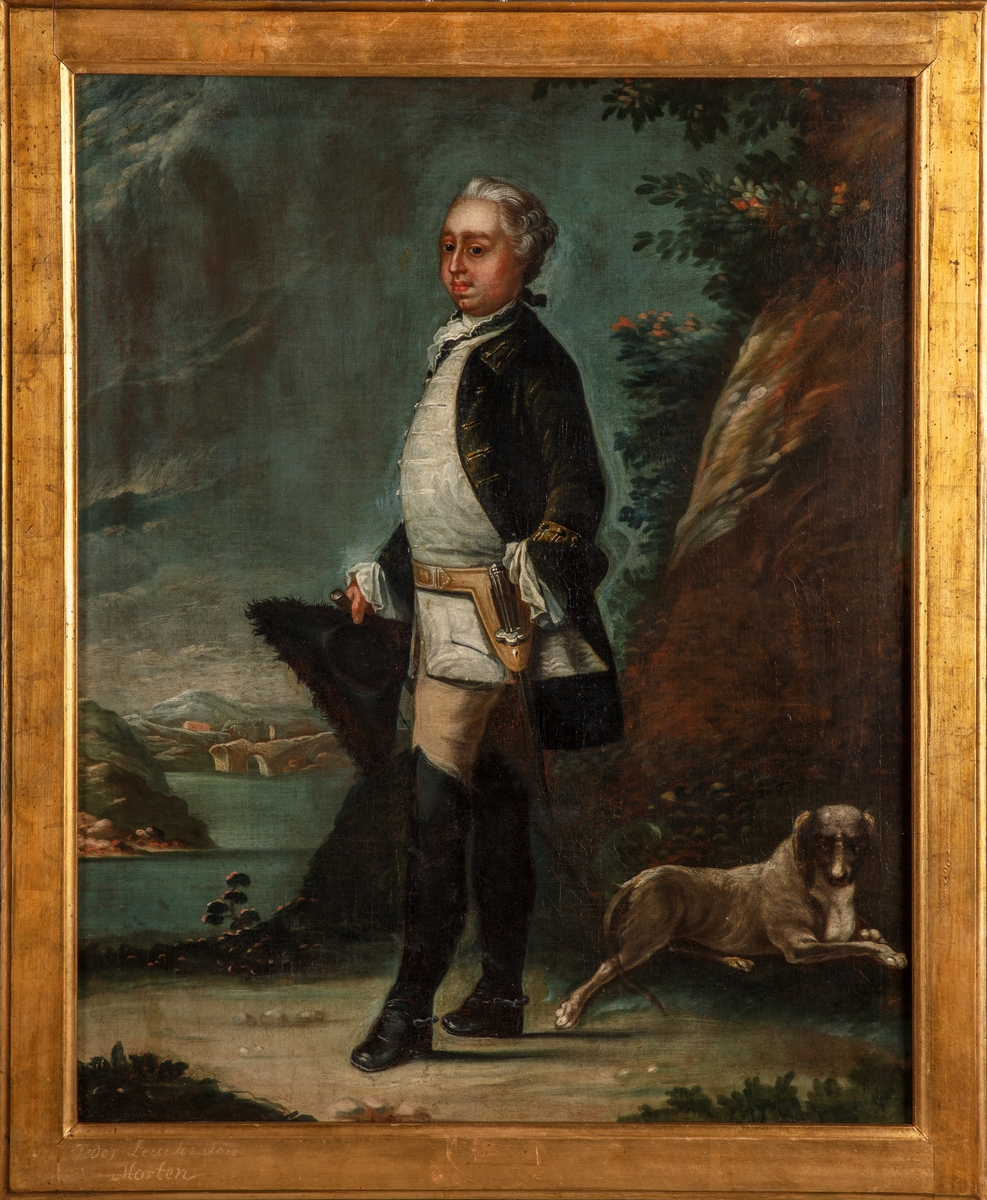 Portrett av Morten Leuch d.y., helfigur. Eier av Bogstad gård 1756-1768.