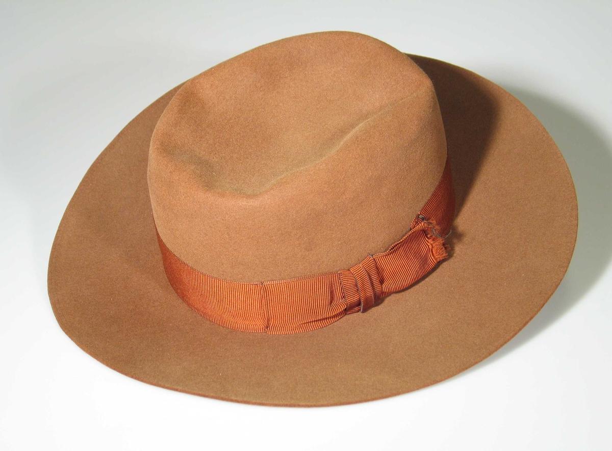 Brun filthatt med åtte cm bred brem. Hatten har brunt ripsbånd, avsluttes med sløyfe i venstre side. På innsiden en svetterem av skinn. Pullen er myk og kan formes. To stikninger langs bremkanten. Fôret med gulhvit sateng (duchesse). Emblem (løve og enhjørning).