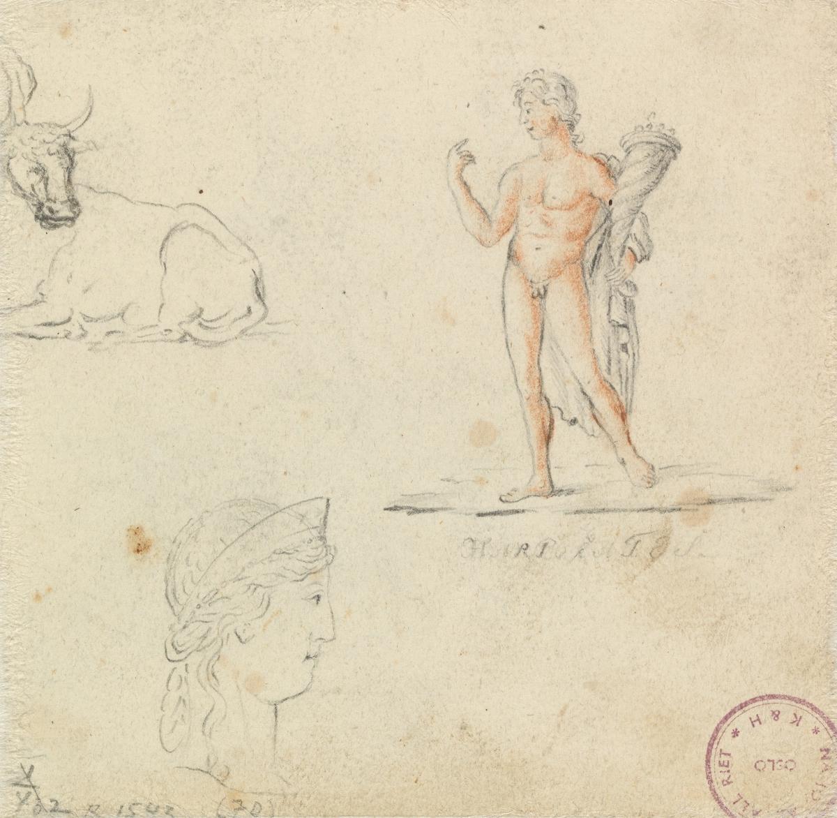 Figur- og dyrestudier [Tegning]