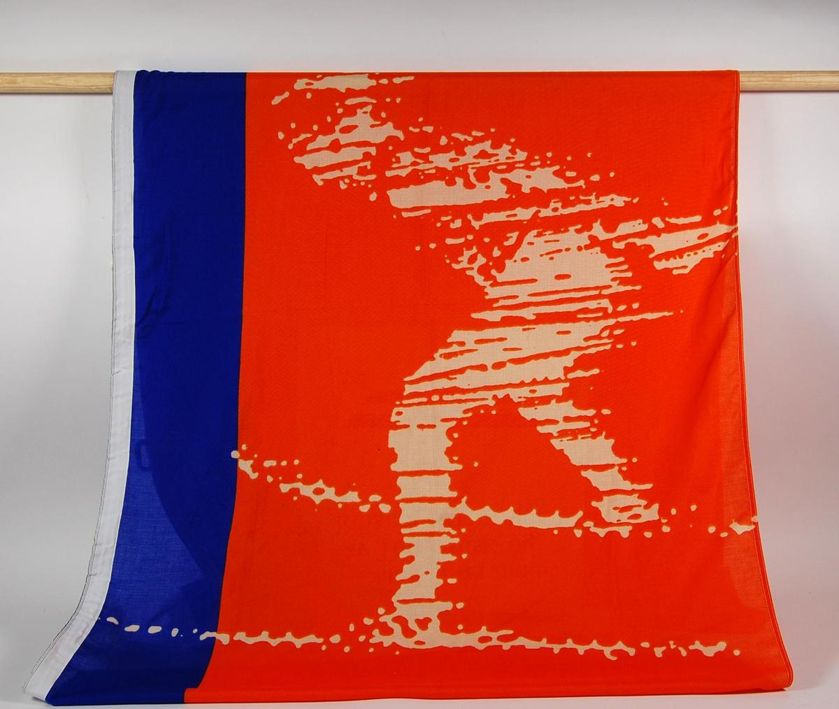 Flerfarget banner med logo for de olympiske leker på Lillehammer i 1994 og NSB. På banneret er det et motiv av en skiløper.