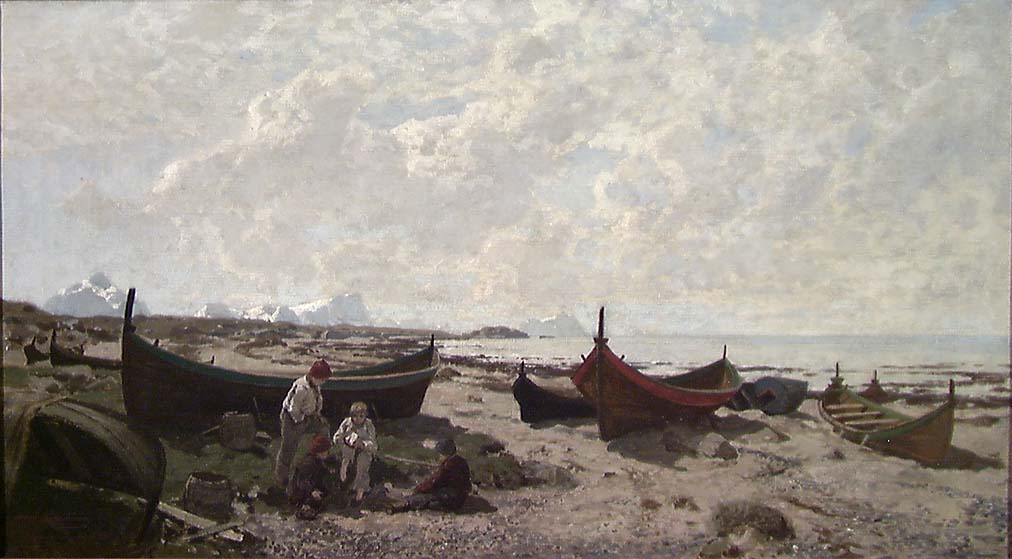 Båter på stranden [Maleri]