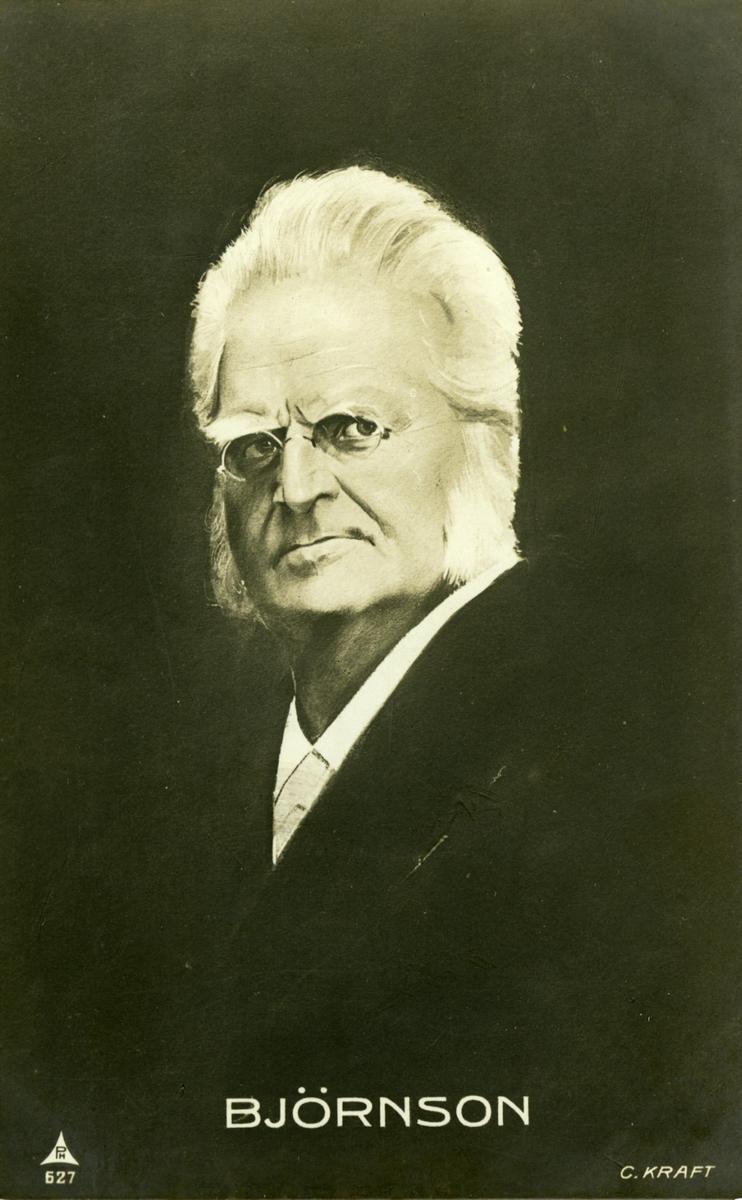 Bjørnson, portrett, tegning, postkort,