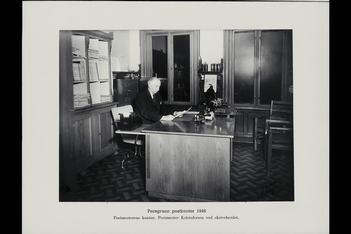 interiør, postkontor, 3900 Porsgrunn, kontor, skrivemaskin, postmester