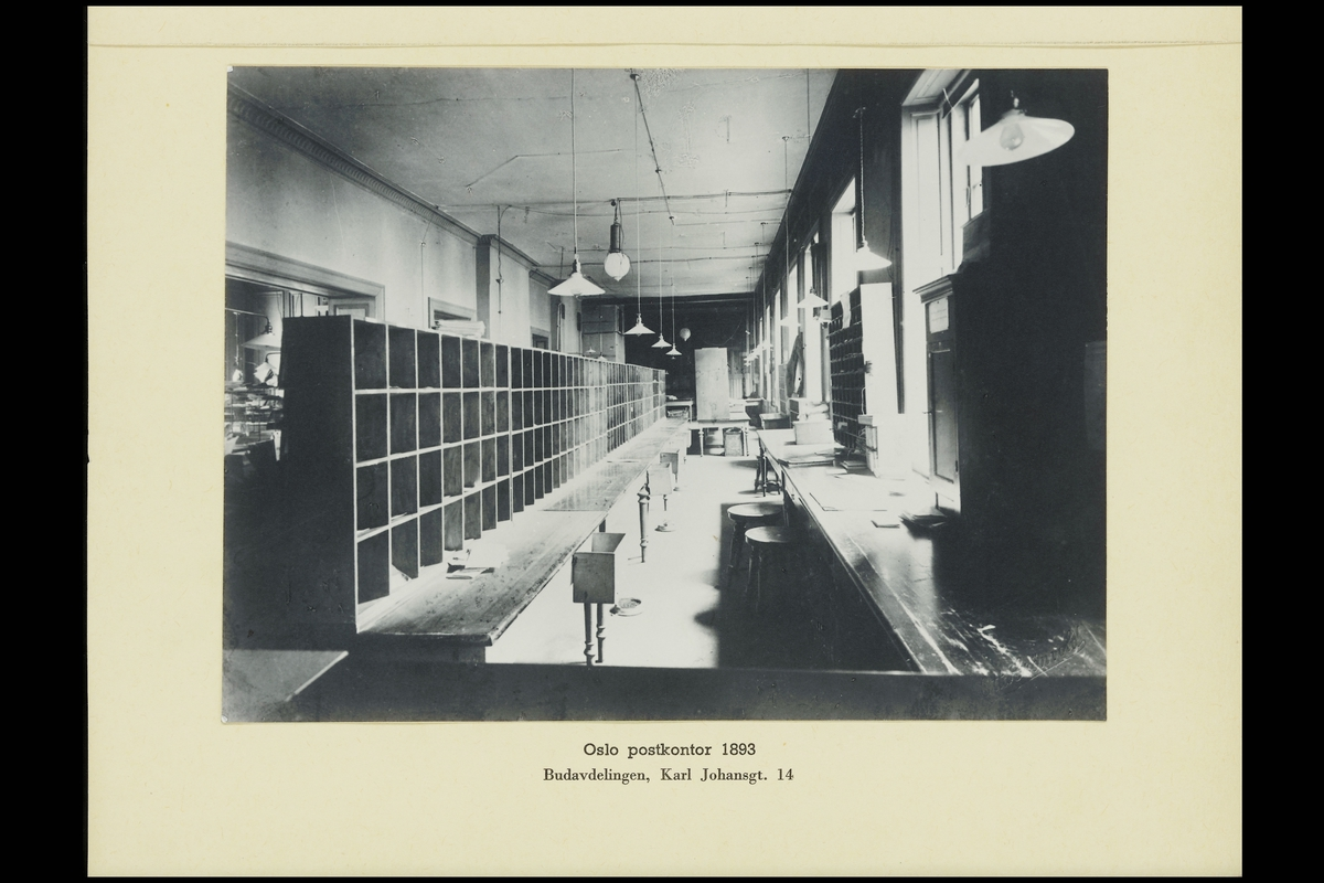 interiør, postkontor, Oslo Karl Johans gate 14, budavdeling, sortering