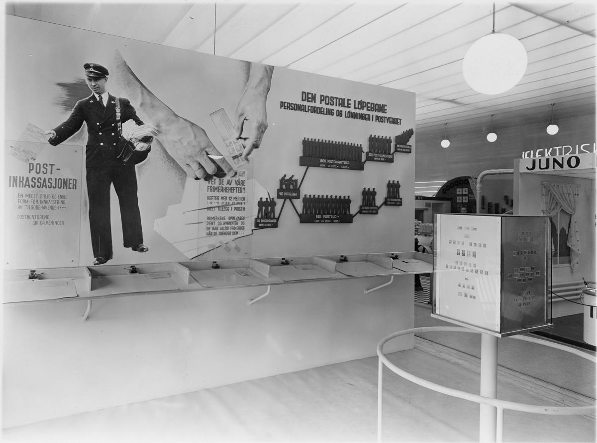 diverse utstillinger, vi kan utstillingen, Oslo 1938, postkontor, interiør, plakat, den postale løpebane
