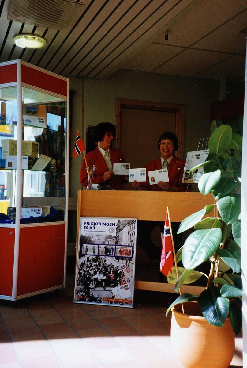 markedsføring, postkontor, Finnsnes, to kvinner