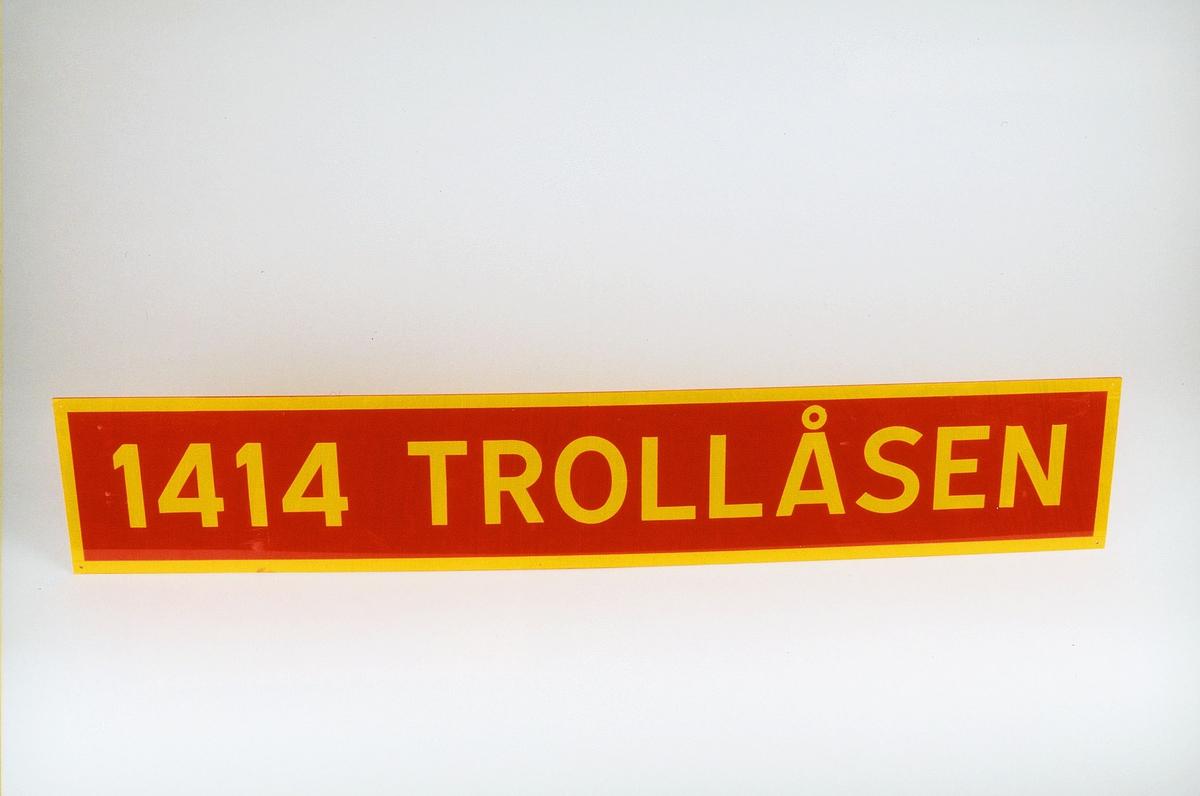 Postmuseet, gjenstander, skilt, stedskilt, stedsnavn, 1414 Trollåsen.