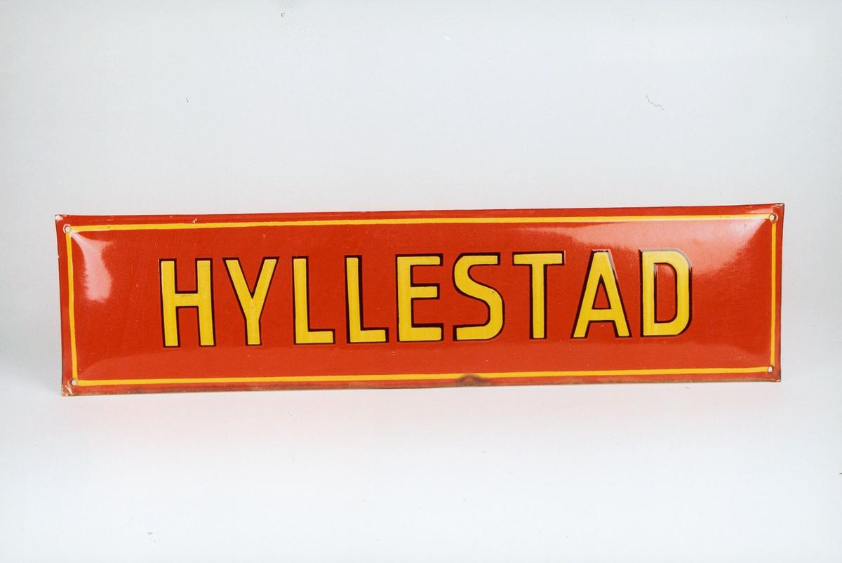Postmuseet, gjenstander, skilt, stedskilt, stedsnavn, Hyllestad.