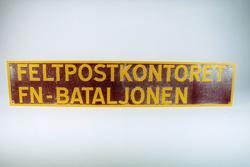 Postmuseet, gjenstander, skilt, stedskilt, stedsnavn, Feltpo