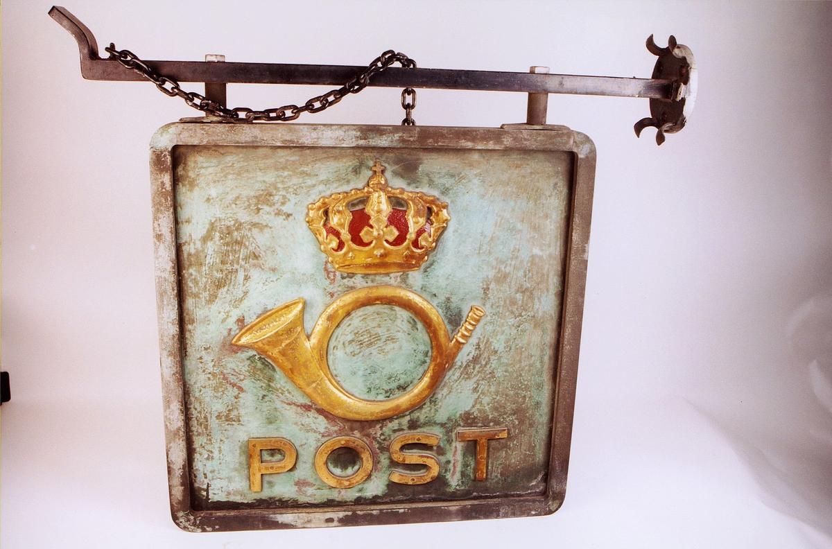 postmuseet, gjenstander, skilt, postskilt, opplysningsskilt, støpt skilt fra Egertorget