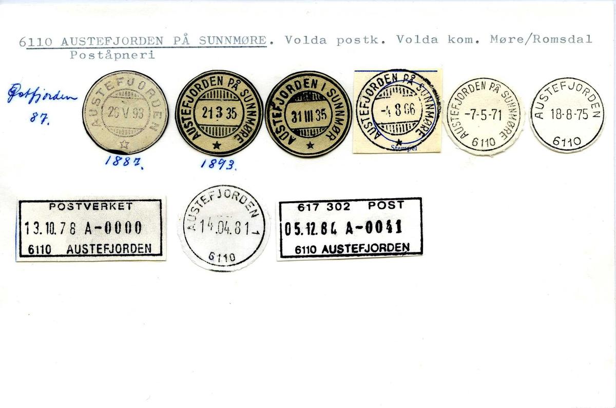 Stempelkatalog, 6110 Austefjorden på Sunnmøre. Volda postkontor. Volda kommune. Møre og Romsdal.