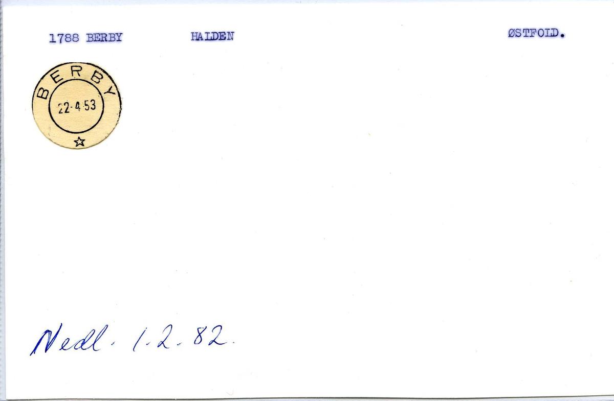 Stempelkatalog.1788 Berby. Halden. Østfold