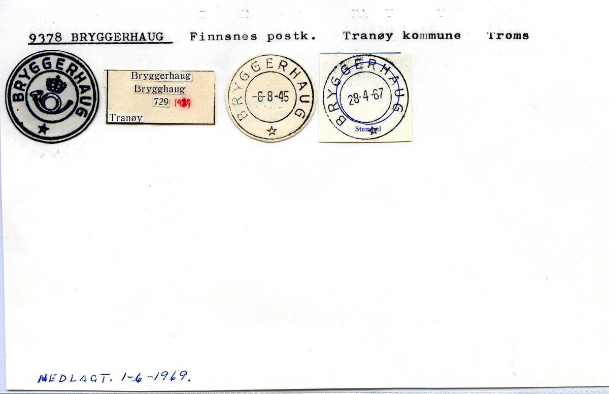 Stempelkatalog, 9378 Bryggerhaug. Finnsnes postkontor. Tranøy kommune. Troms fylke.