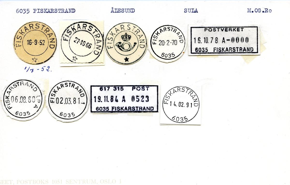 Stempelkatalog, 6035 Fiskarstrand, Ålesund, Sula, M.og R.dal