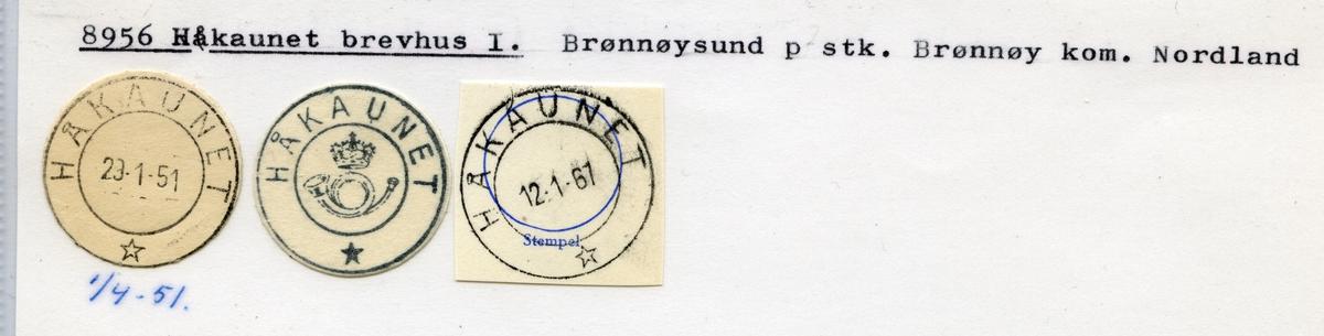 Stempelkatalog. 8956 Håkaunet brevhus I. Brønnøysund postkontor. Brønnøy kommune. Nordland fylke. Foto mangler.