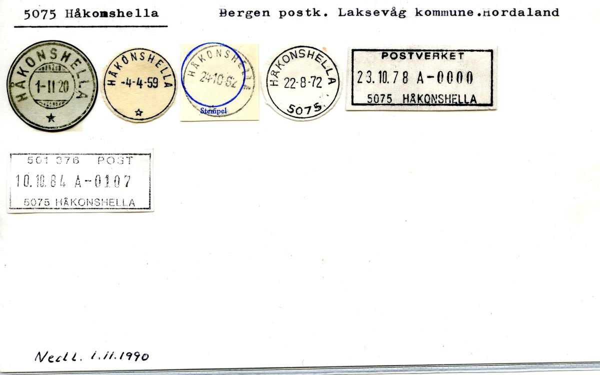 Stempelkatalog. 5075 Håkonshella. Bergen postkontor. Laksevåg kommune. Hordaland fylke.