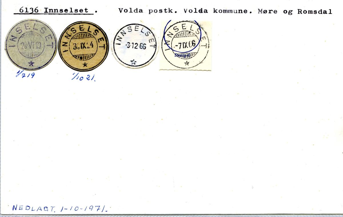 Stempelkatalog.6136 Innselset, Volda postk., Volda kommune, Møre og Romsdal