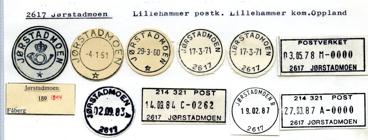 Stempelkatalog. 2617 Jørstadmoen, Lillehammer postk., Lillehammer kommune, Oppland