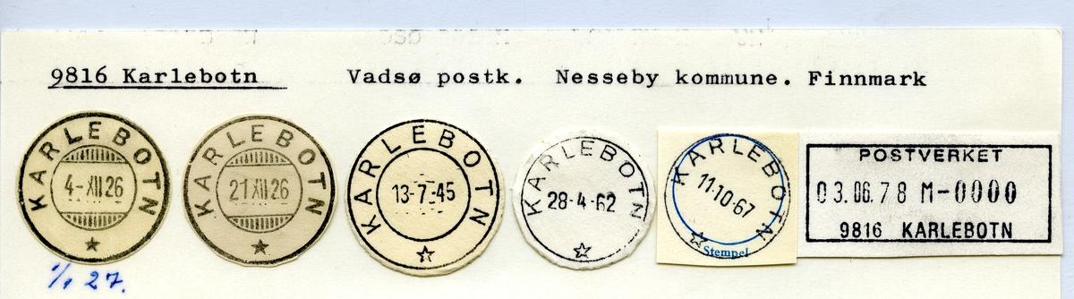 Stempelkatalog 9816 Karlebotn, Vadsø postk., Nesseby kommune, Finnmark
