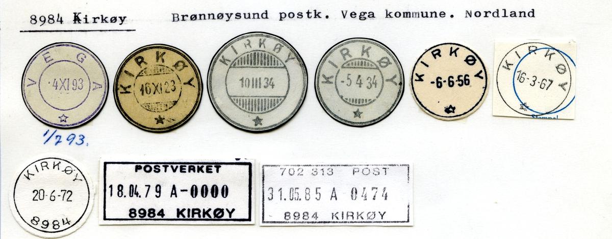 Stempelkatalog 8984 Kirkøy, Brønnøysund postk., Vega kommune, Nordland (Vega 1.7.1893)
