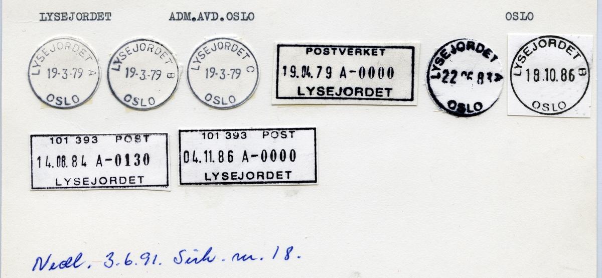 Stempelkatalog, Lysejordet, Adm.avd. Oslo kommune