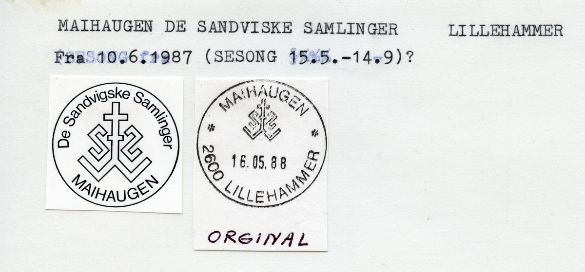 Stempelkatalog, Maihaugen, Lillehammer kommune, Oppland (De Sandvigske Samlinger)