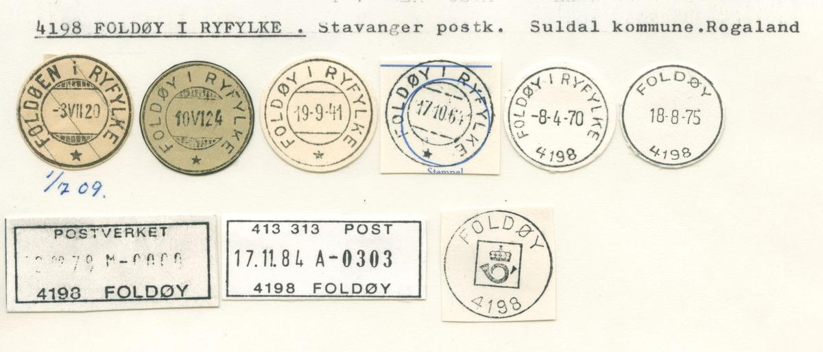 Stempelkatalog 4198 Foldøy i Ryfylke, (Foldøen i Ryfylke), Suldal, Rogaland