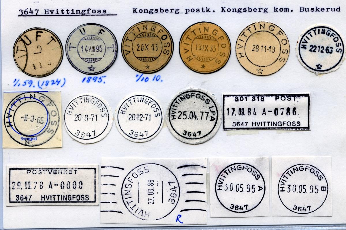 Stempelkatalog 3647 Hvittingfoss, Kongsberg, Buskerud