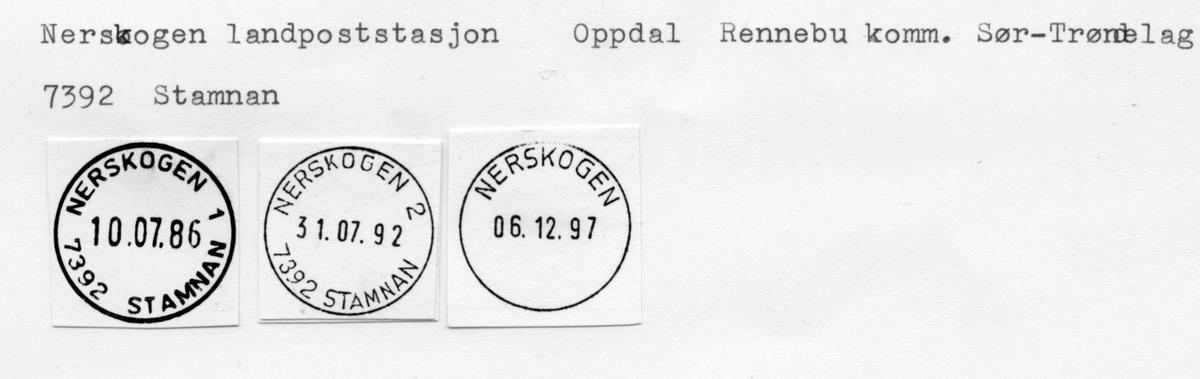 Stempelkatalog  7395, Nerskogen (Særeggan), Oppdal, Rennebu, Sør-Trøndelag