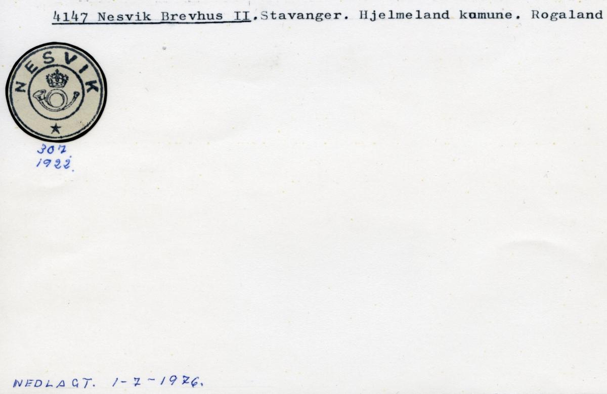 Stempelkatalog. 4147 Nesvik brevhus II. Stavanger postkontor. Hjelmeland kommune. Rogaland fylke.