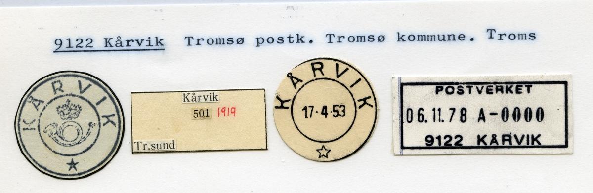 Stempelkatalog 9122 Kårvik, Tromsø, Troms