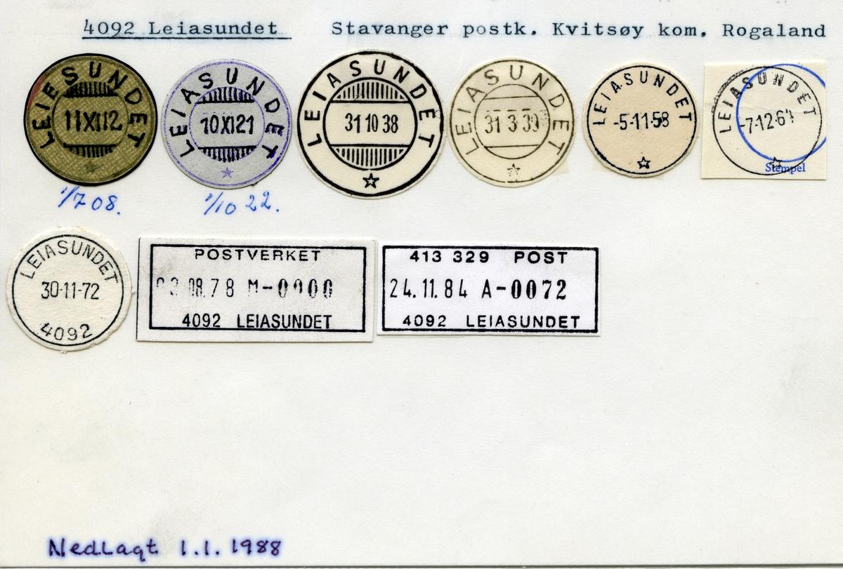 Stempelkatalog 4092 Leiasundet (Leiesundet), Stavanger, Kvitsøy, Rogaland