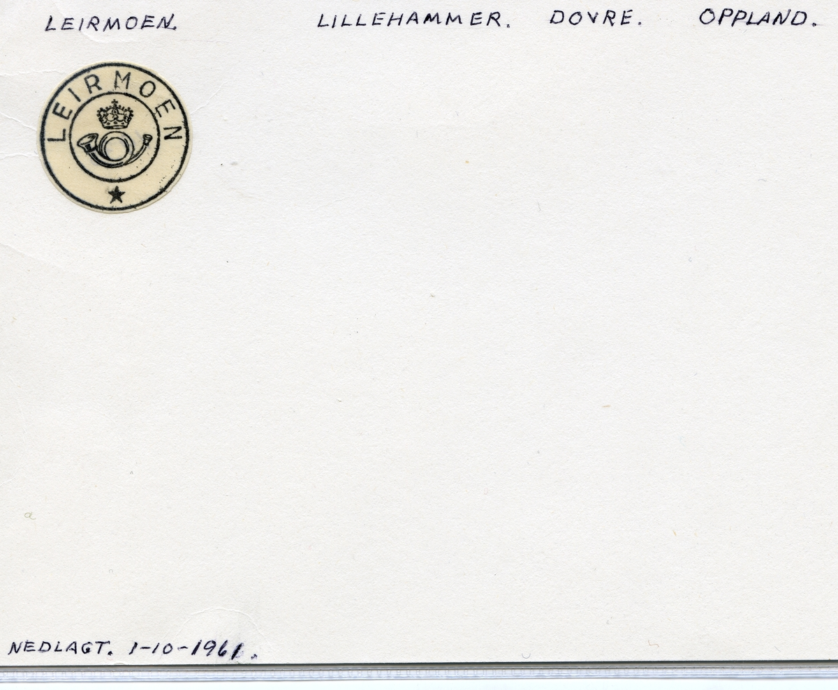 Stempelkatalog Leirmoen, Lillehammer, Dovre, Oppland