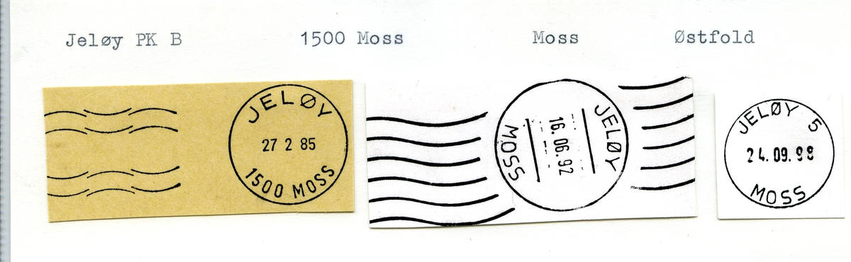 Stempelkatalog. 1512  Jeløy, Moss postk., Moss kommune, Østfold