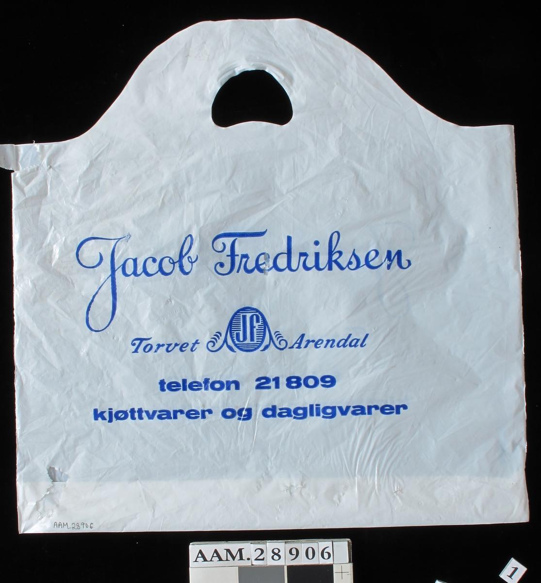Bærepose.  Fra firma slakter Fredriksen som holdt til på Torvet.  Instilte driften ca. 1992.