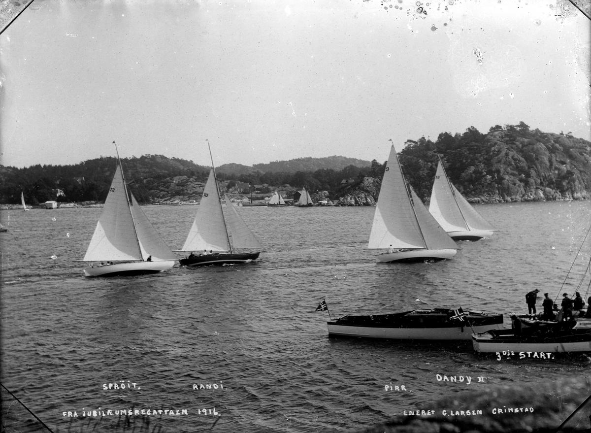 Havnebassenget i Grimstad. Jubileumsregattaen i 1916